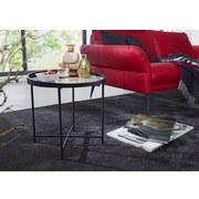 Beistelltisch Marmor-Optik + Magnolienholz Schwarz - Schwarz/Weiß, Design, Holz/Holzwerkstoff (46/45/46cm) - Livetastic