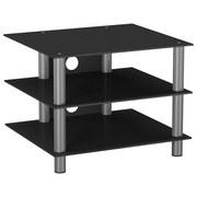 TV-Regal Sindas B: 60 cm, Schwarz, Silber - Silberfarben/Schwarz, KONVENTIONELL, Glas/Metall (60/45/42cm) - MID.YOU