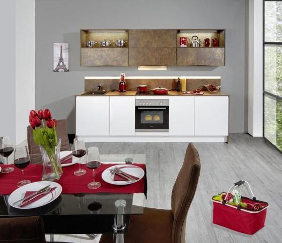 Kuchyňský Blok Ibarra - bílá/bronzová, Moderní, kompozitní dřevo (273,2cm) - Vertico