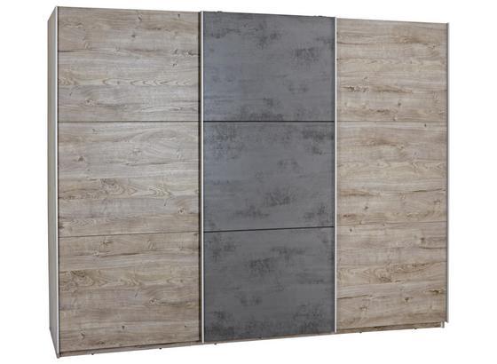 Schwebetürenschrank Malta B:270cm Haveleiche/beton Dekor - Eichefarben/Dunkelgrau, MODERN, Holzwerkstoff (270/210/60cm)