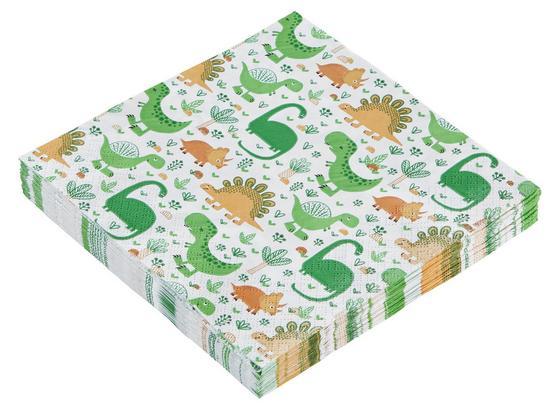 Servítky Funny Dinos - oranžová/viacfarebná, papier (33/33cm)