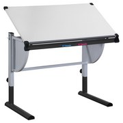Schreibtisch Petra B312054 - Weiß/Grau, MODERN, Kunststoff/Metall (110/63-93/60cm)