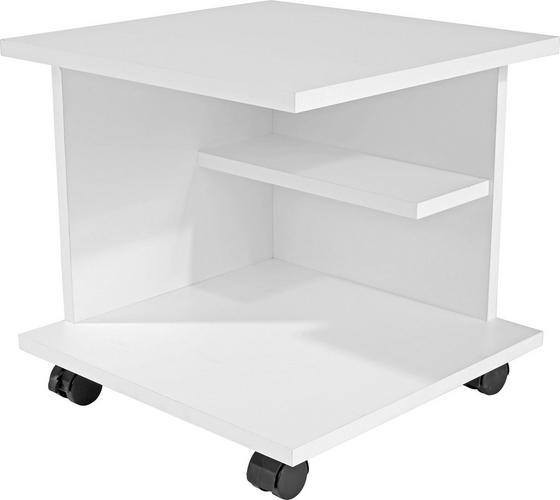 Kisasztal Gyöngyházfehér - Fehér, modern, Faalapú anyag (39/38/38cm)