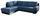 Wohnlandschaft in L-Form Nardo 221x264 cm - Chromfarben/Blau, MODERN, Textil (221/264cm)