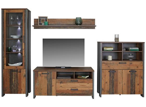 Wohnkombination Clif 1 B:311cm Old Wood Vintage/ Beton Dekor - Dunkelgrau, MODERN, Glas/Holzwerkstoff (311/205/52cm)
