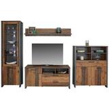 Wohnkombination Clif 1 B:311cm Old-wood Vintage/ Betonoptik - Dunkelgrau, MODERN, Glas/Holzwerkstoff (311/205/52cm)