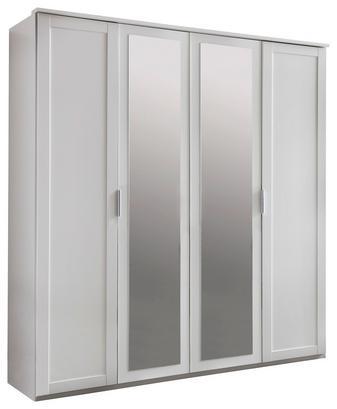 Viertüriger Kleiderschrank in Weiß mit zwei Spiegeltüren