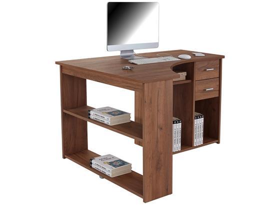 Rohový Psací Stůl Gemo Fu Pc 56 - tmavě hnědá/barvy dubu, Moderní, kompozitní dřevo (135/74,2/95cm)