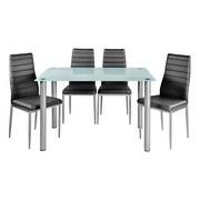 Tischgruppe Wels - Grau, KONVENTIONELL, Glas/Textil