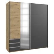 Schwebetürenschrank mit Glas + Laden 179cm Aurich, Graphit - Eichefarben/Graphitfarben, Basics, Holzwerkstoff (179/198/64cm) - Livetastic