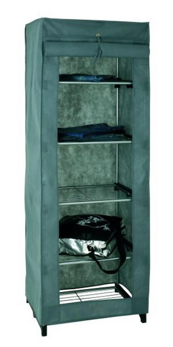 Szekrény Lamos - alu színű, modern, műanyag/textil (60/173/50cm)