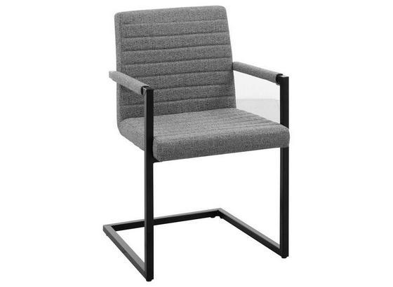 Armlehnstuhl Lia B: 54 cm Grau - Schwarz/Grau, Design, Textil/Metall (54/85/60cm) - Carryhome
