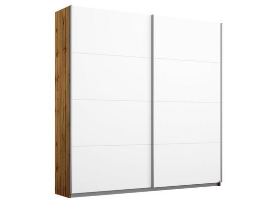 Schwebetürenschrank Belluno B:181cm Weiß/wotan Eiche Dekor - Eichefarben/Weiß, MODERN, Holzwerkstoff (181/210/62cm)