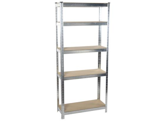 Schwerlastregal Shelf - Silberfarben, Basics, Holz/Metall (75/30/172cm)