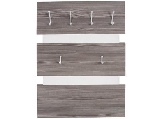 Garderobenpaneel Moya - Dunkelbraun/Weiß, MODERN, Holzwerkstoff/Kunststoff (70/99/2cm)