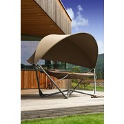 Hängematte mit Dach 320x190cm Flora, Beige/ Grau - Beige/Grau, MODERN, Textil/Metall (320/245/190cm)