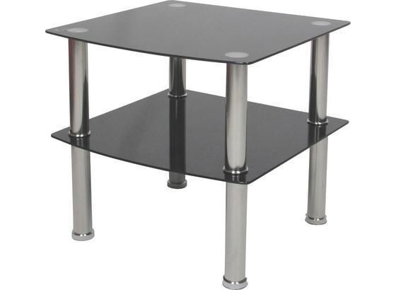Kisasztal Peter - Fekete, modern, Üveg/Fém (45/43/45cm)