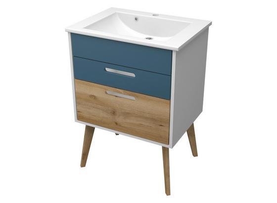 Waschtischkombi Malmö 60 cm Weiß/Blau/Buche - Blau/Buchefarben, Basics, Holzwerkstoff/Stein (60/88/47cm)