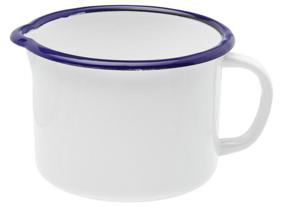Hrniec Na Mlieko Leni - modrá/biela, kov (12cm)