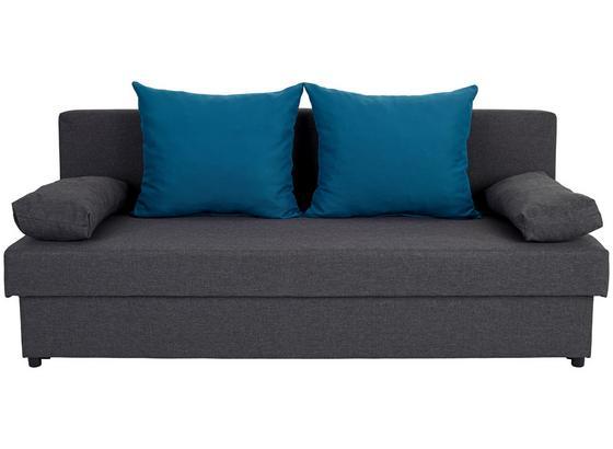 Rozkládací Pohovka Neo  *cenový Trhák* - tmavě šedá/tyrkysová, Basics, textil (190/75/82cm)