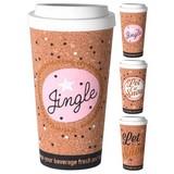 Coffee-to-go-becher 380 ml - Pink/Goldfarben, MODERN, Holz/Kunststoff (8,9/18,2cm)