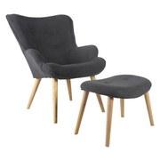 Křeslo Včetně Taburetu Relax - tmavě šedá/přírodní barvy, Moderní, dřevo/textil (73/92/80cm) - Ombra