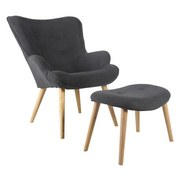 Ohrensessel Relax B: 73 cm - Eichefarben/Dunkelgrau, MODERN, Holz/Textil (73/92/80cm) - Ombra