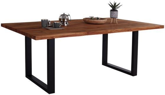 Großer Esstisch aus Massivholz und pulverbeschichtetem Metallgestell