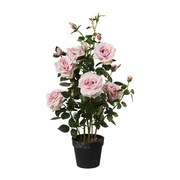 Kunstpflanze Rosenbusch H: 90 cm Rosa - Rosa/Grün, Trend, Kunststoff (90cm)