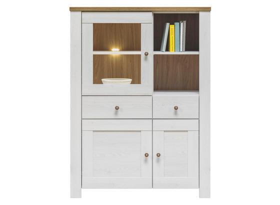 Vitrína Noto - bílá, Romantický / Rustikální, dřevo (102/138/40cm)