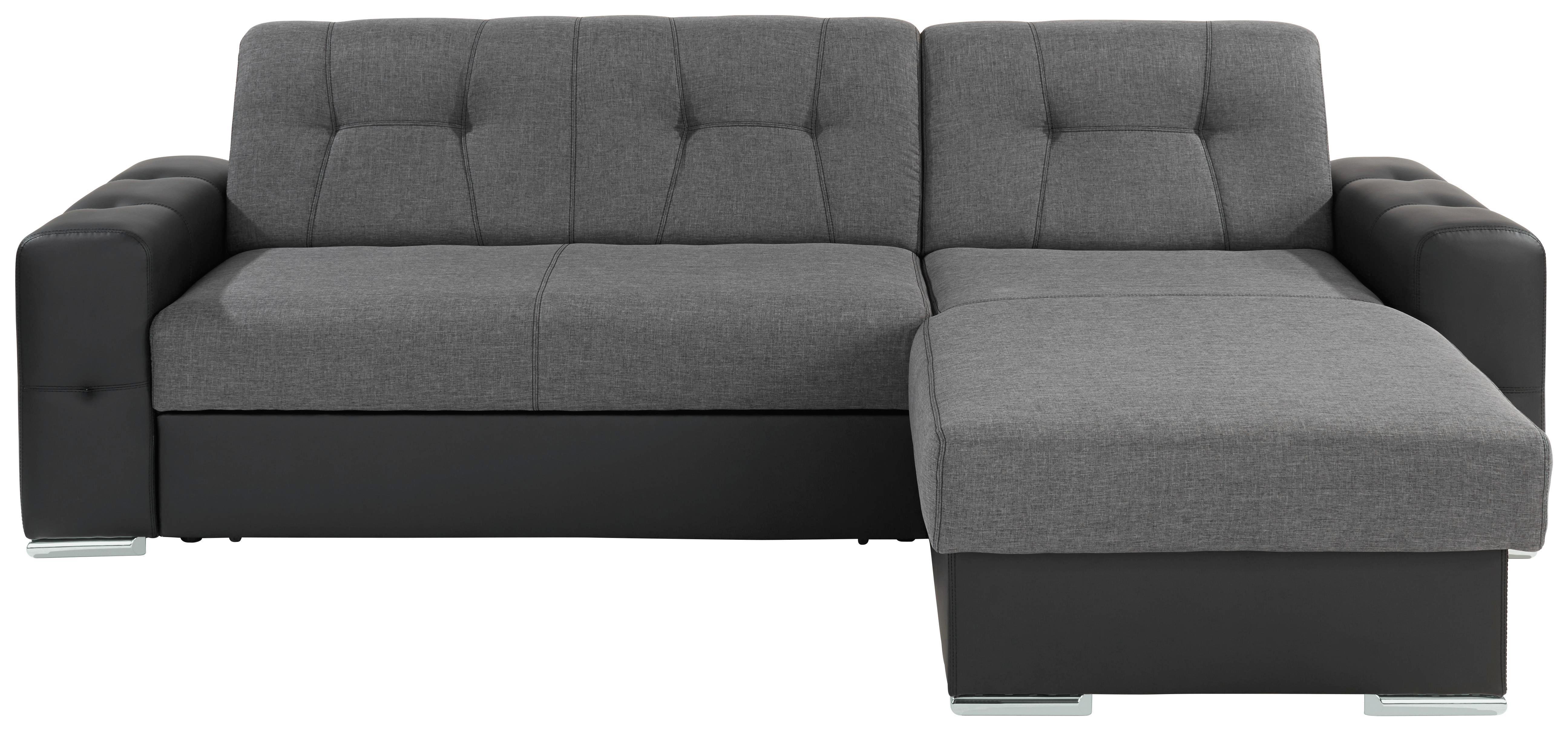 Sarokgarnitúra Fulton - fekete/szürke, modern (260/160cm)