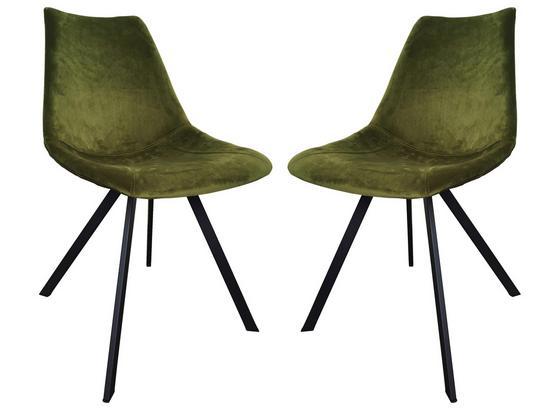 Stuhl-Set 2-Er Set Olivengrün - Schwarz/Olivgrün, Basics, Textil/Metall (61,5/84,5/50cm)