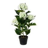 Kunstpflanze Hortensie H: 92 cm - Schwarz/Weiß, Trend, Kunststoff (92cm)