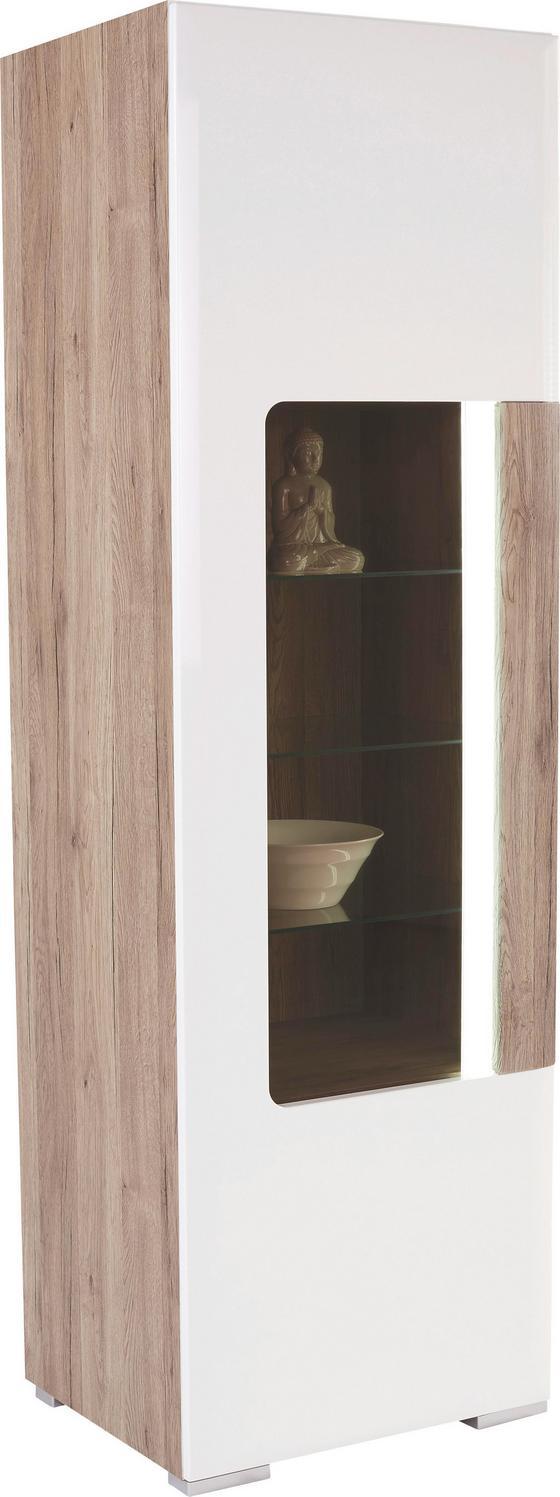 Vitrin Toronto - tölgy színű/fehér, modern, faanyagok (57,9/196/42,2cm) - OMBRA