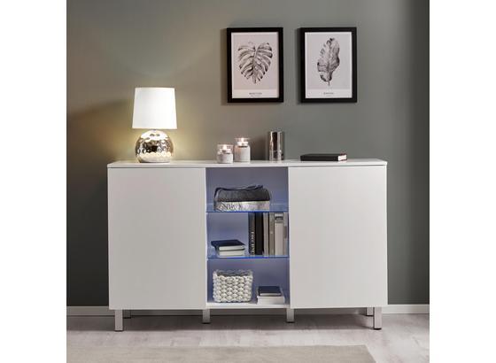 Komoda Basic - biela, Moderný, drevo/sklo (138/84/40cm) - Modern Living