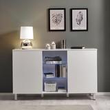 Komoda Basic - bílá, Moderní, dřevo/sklo (138/84/40cm) - Modern Living