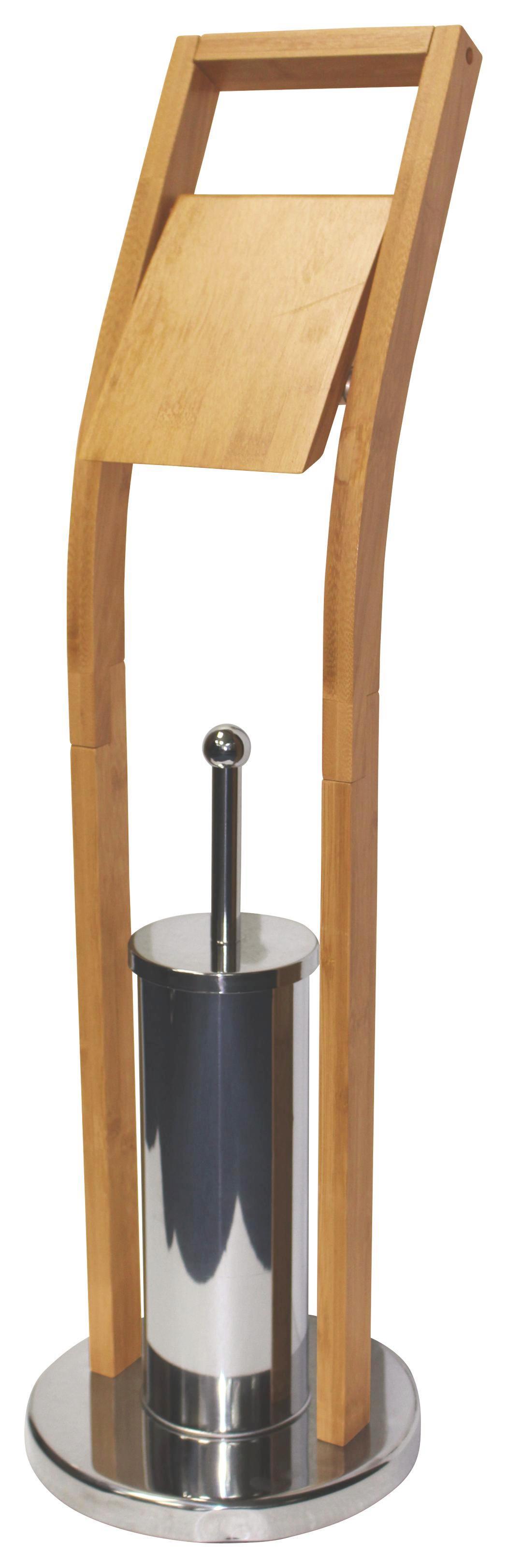 Držák Na Wc Štětku Nancy - barvy chromu/přírodní barvy, Moderní, kov/dřevo (22/75/22cm) - HOMEZONE
