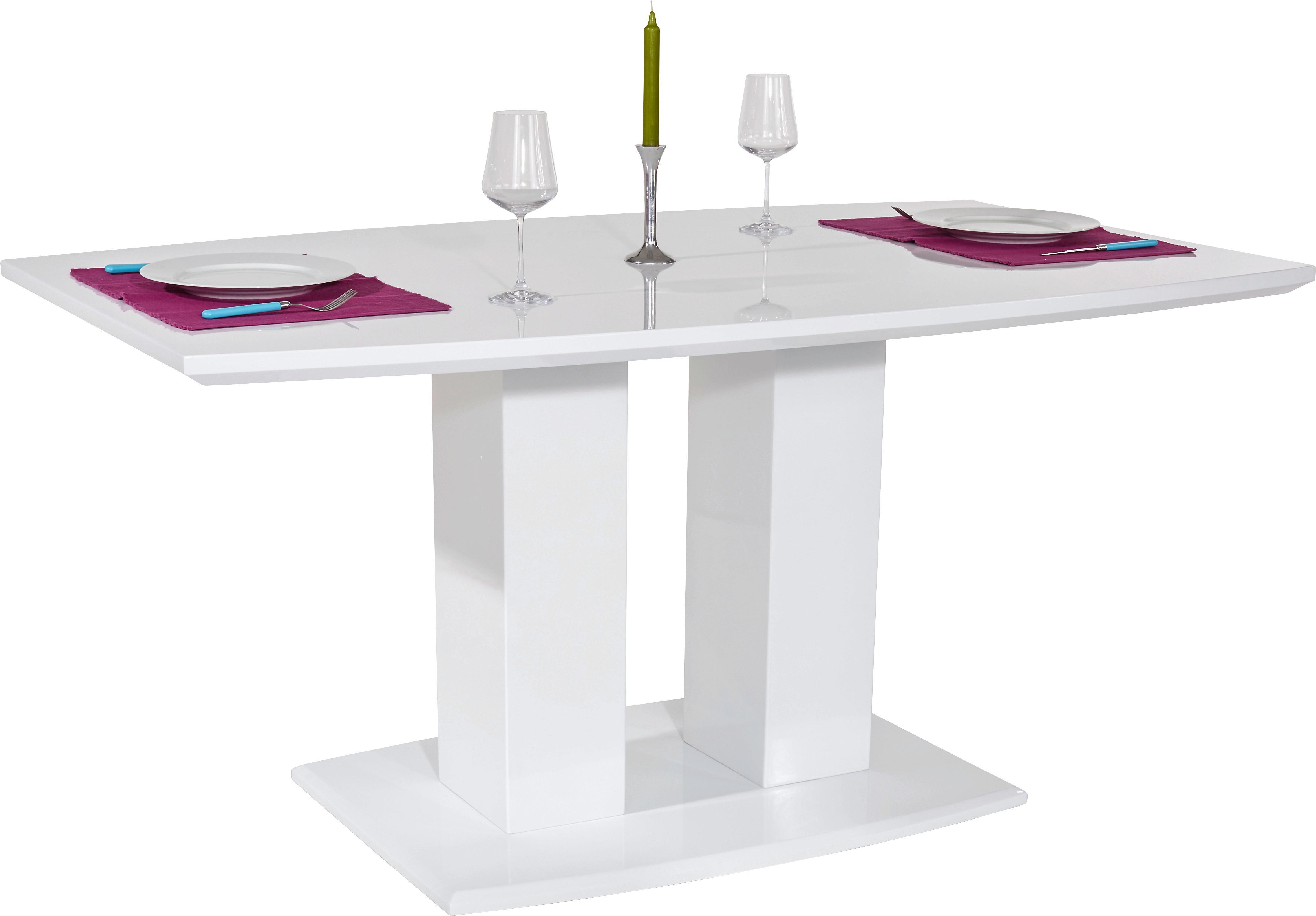 Esstisch Malvin 160cm Weiß Hochglanz   Weiß, MODERN, Holzwerkstoff (160/76/