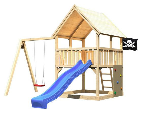 Spielturm Toni Set L - Blau/Naturfarben, Holz (200/345/200cm) - Karibu