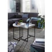 Beistelltisch 2er-Set Rund + Eckig, Schwarz + Weiß - Schwarz/Weiß, Design, Holzwerkstoff/Metall (46/53/46cm) - Livetastic