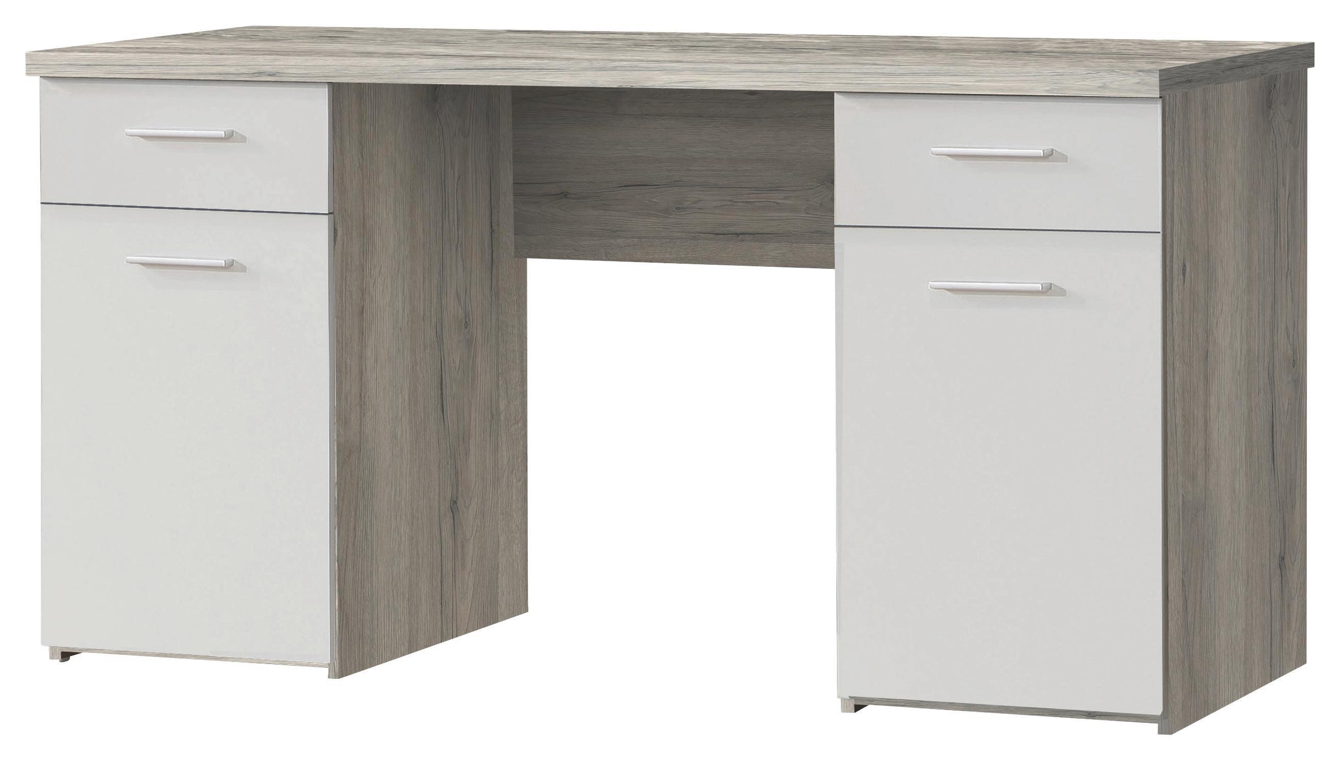 Íróasztal Net 106 - tölgy színű/fehér, modern, fa (145/76,3/60cm)