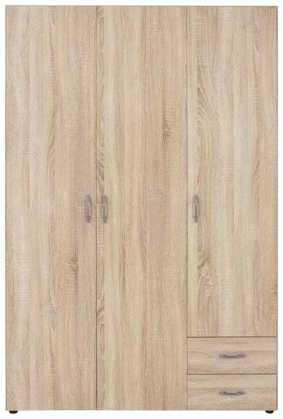 Šatná Skriňa Base 3 *cenový Trhák* - farby dubu, Konvenčný, drevený materiál (120/177/52cm)