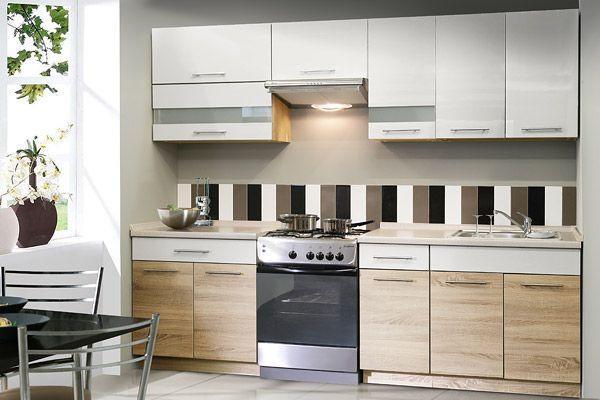Konyhablokk Multiforte - Sonoma tölgy/fehér, modern, műanyag/üveg (260/214.9/60cm)