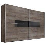 Schwebetürenschrank Advantage 250 cm Schlammeiche - Eichefarben, MODERN, Glas/Holzwerkstoff (250/218/65cm)