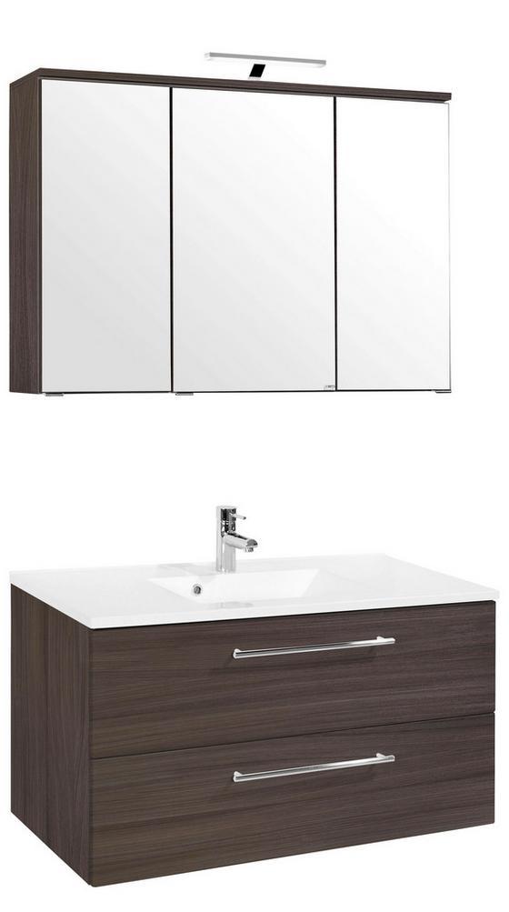 Badezimmer Mailand 100 cm Eiche Dekor - Eichefarben/Weiß, MODERN, Holzwerkstoff/Kunststoff (100/47cm)