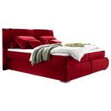 Boxspringbett mit Topper & Bettkasten 180x200cm Caims - Silberfarben/Rot, KONVENTIONELL, Holzwerkstoff/Textil (180/200cm) - Carryhome