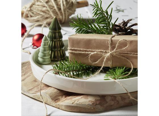 Talíř Dekorační Rudolf - bílá/zelená, keramika (25/8cm) - Mömax modern living