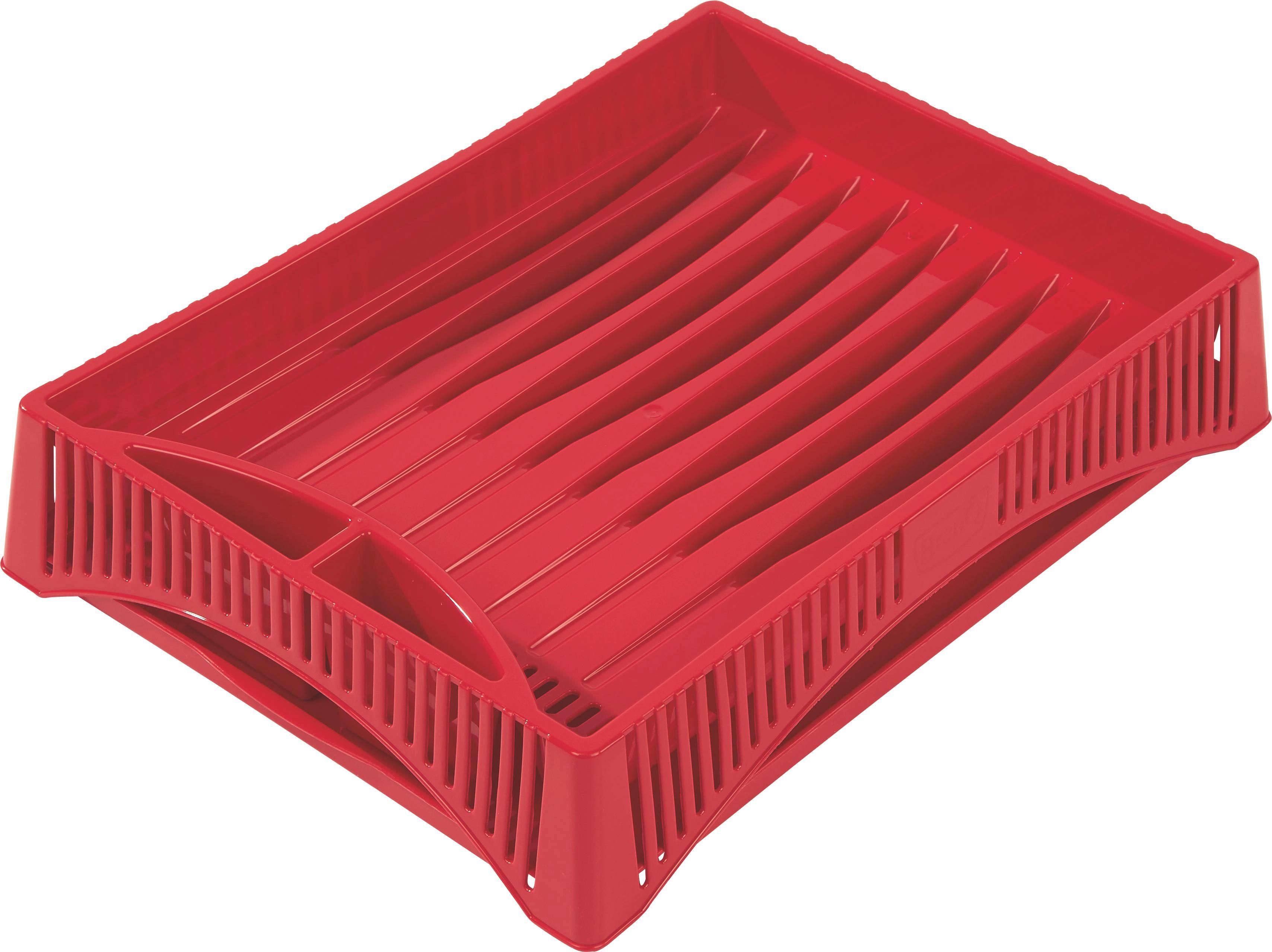 Edényszárító Kosár Jan - piros/krém, konvencionális, műanyag (40/30/8cm) - OMBRA