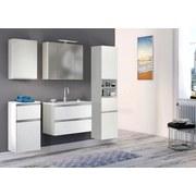 Waschtischkombi mit Soft-Close Arezzo B: 80 cm Weiß - Weiß, Basics, Holzwerkstoff/Stein (80/54/47cm) - Livetastic