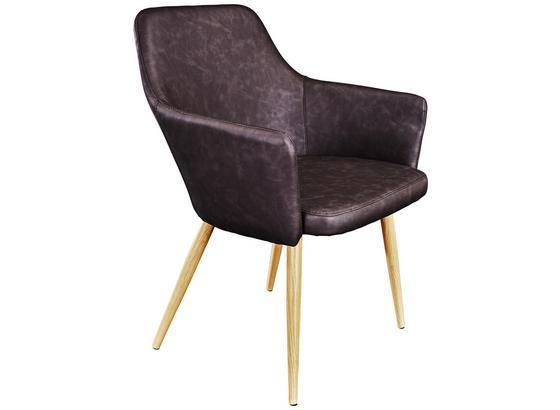 Stuhl Betty Lederlook Anthrazit - Anthrazit/Braun, MODERN, Textil/Metall (51/86/55cm) - Ombra